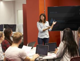 Students in a presentation